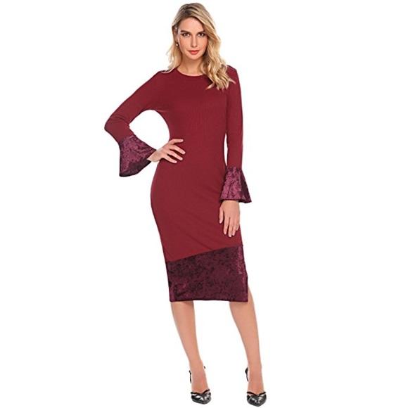 Boutique Dresses Plus Size Long Bell Sleeve Bodycon Midi Dress